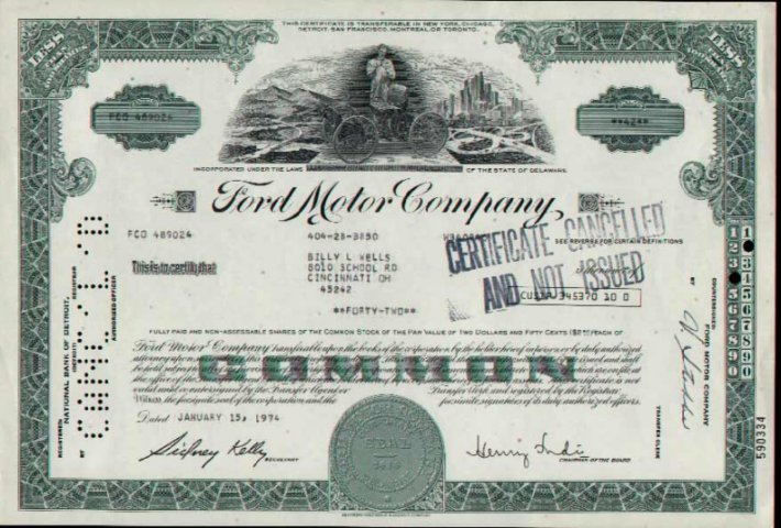 1974 ford motor company for Ford motor company stock