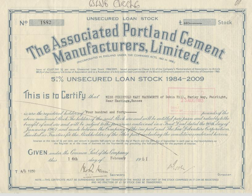 Associated Cement Companies : Associated portland cement manufacturers ltd